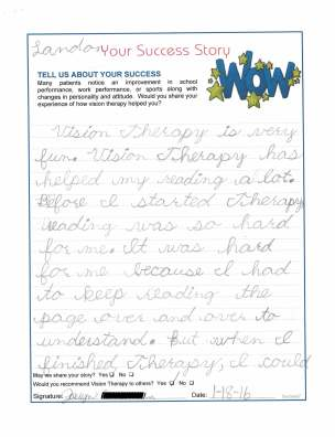 Landon's own words describing his vision therapy success (Page 1)